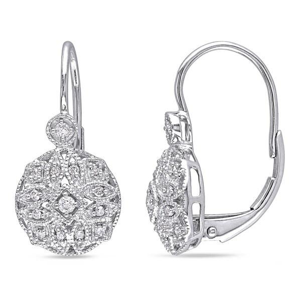 Miadora 14k White Gold 1/6ct TDW Diamond Earrings