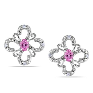 Miadora 10k White Gold Pink Sapphire and Diamond Flower Earrings