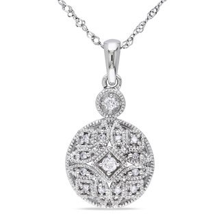 Miadora 14k White Gold 1/8ct TDW Diamond Necklace
