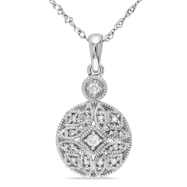 Miadora 14k White Gold 1/8ct TDW Diamond Necklace