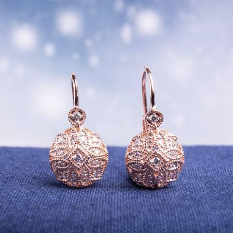 Miadora 14k Rose Gold 1/6ct TDW Diamond Earrings