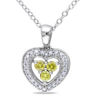 Miadora Sterling Silver 1/3ct TDW Yellow Diamond Heart Necklace (H-I, I2-I3)