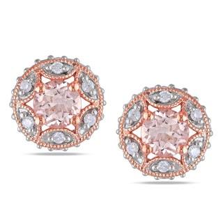 Miadora Rose Plated Silver Morganite 1/3ct TDW Diamond Earrings (H-I, I2-I3)