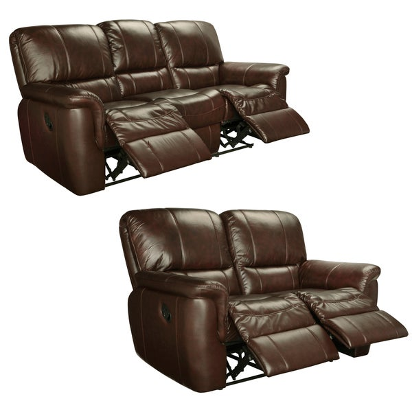 Elegant Ethan Chestnut Brown Italian Leather Reclining Sofa And Loveseat