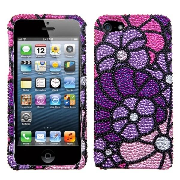 INSTEN Purple Spring Garden Premium Diamante Phone Case for Apple iPhone 5/ 5S/ SE
