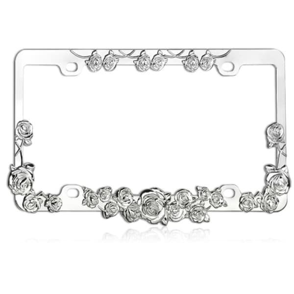 Insten Rose Chrome Metal License Plate Frame by Insten