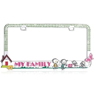 INSTEN Loving Family/ Green Crystals Metal License Plate Frame