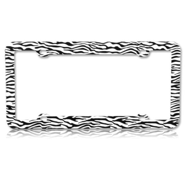 shop insten black   white zebra plastic license plate frame