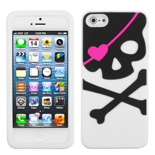 INSTEN Big Skull/ White Pastel Skin Phone Case Cover for Apple iPhone 5