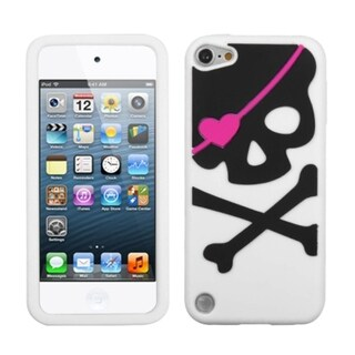 Insten White/ Black Skull Soft Silicone Skin Rubber Case Cover For Apple iPod Touch 5th/ 6th Gen
