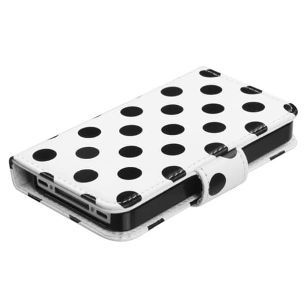 INSTEN Black Dots/ White Wallet Phone Case Cover for Apple iPhone 4/ 4S