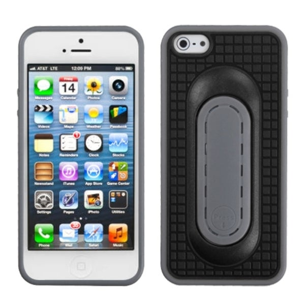 INSTEN Black Snap Tail Stand Phone Case Cover for Apple iPhone 5