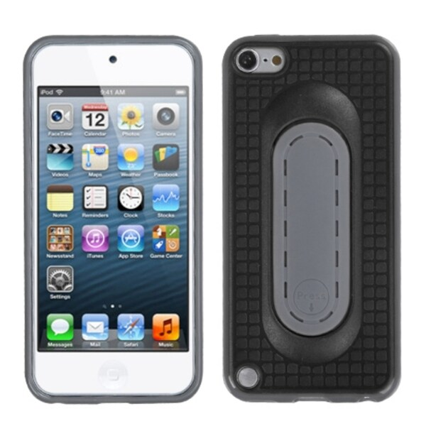 Insten Black/ Grey TPU Rubber Candy Skin Case Cover with Stand For Apple iPod Touch 5th/ 6th Gen