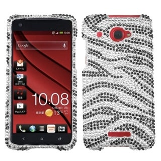 INSTEN Black Zebra Diamante Back Phone Case Cover for HTC Droid DNA