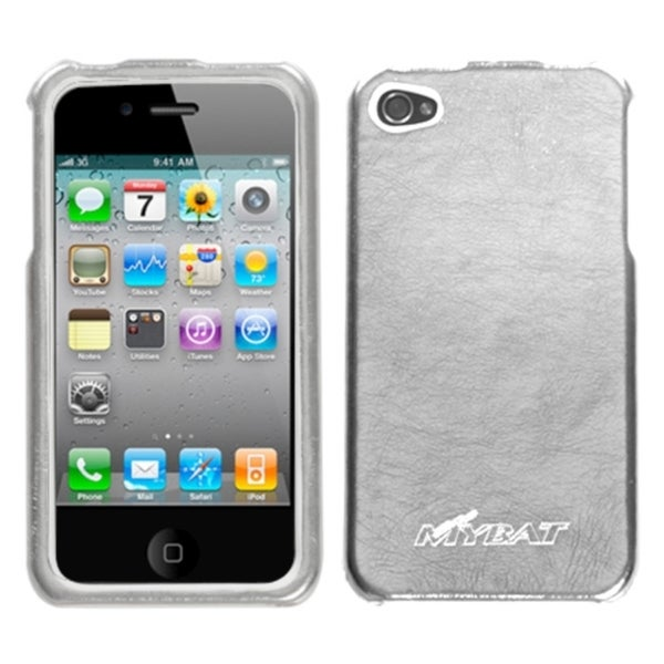 INSTEN Silver Metallic Leather Executive Phone Case Cover for Apple iPhone 4/ 4S