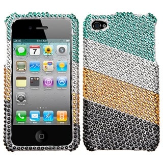 INSTEN Green/ Silver Stripes Diamante Phone Case Cover for Apple iPhone 4/ 4S