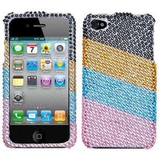 INSTEN Blue/ Pink Stripes Diamante Phone Case Cover for Apple iPhone 4/ 4S