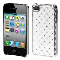 INSTEN White/ Silver Diamante Phone Case Cover for Apple iPhone 4/ 4S