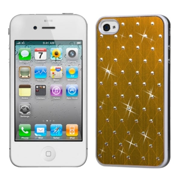 INSTEN Gold Studded Phone Case Cover with White Sides for Apple iPhone 4/ 4S