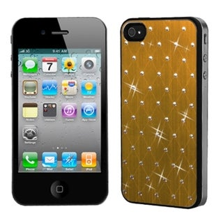 INSTEN Gold Studded Phone Case Cover with Black Sides for Apple iPhone 4/ 4S