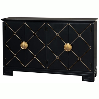 Hand Painted Distressed Black Finish Console Chest