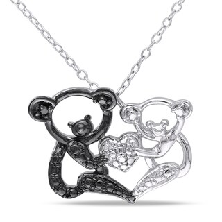Miadora Sterling Silver Black Diamond Koala Bear Necklace