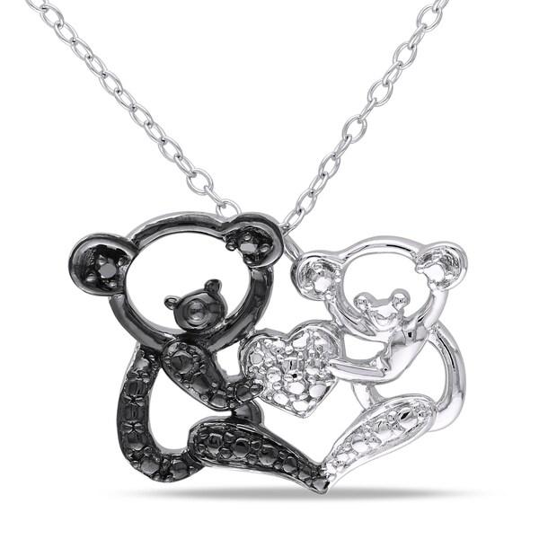 Miadora Sterling Silver Black Diamond Koala Bear Necklace