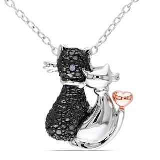 Miadora Sterling Silver Black Diamond Cat Necklace