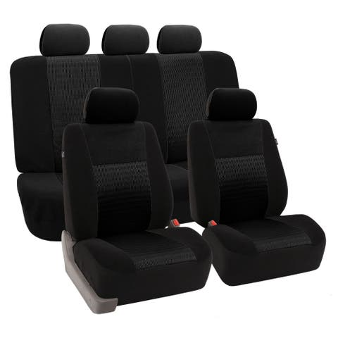 FH Group Trendy Elegance Black Airbag-safe Car Seat Covers (Full Set)