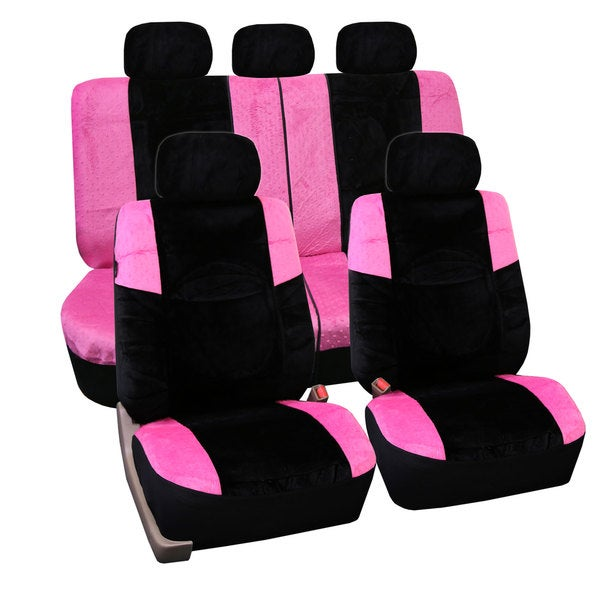 FH Group Pink Lush Velour Airbag Compatible Auto Seat Covers Full Set