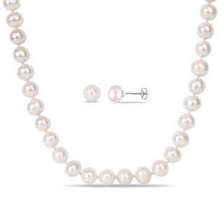 Miadora Silvertone Cultured Freshwater Pearl Necklace and Stud Earrings Two-Piece Set (8-10mm)