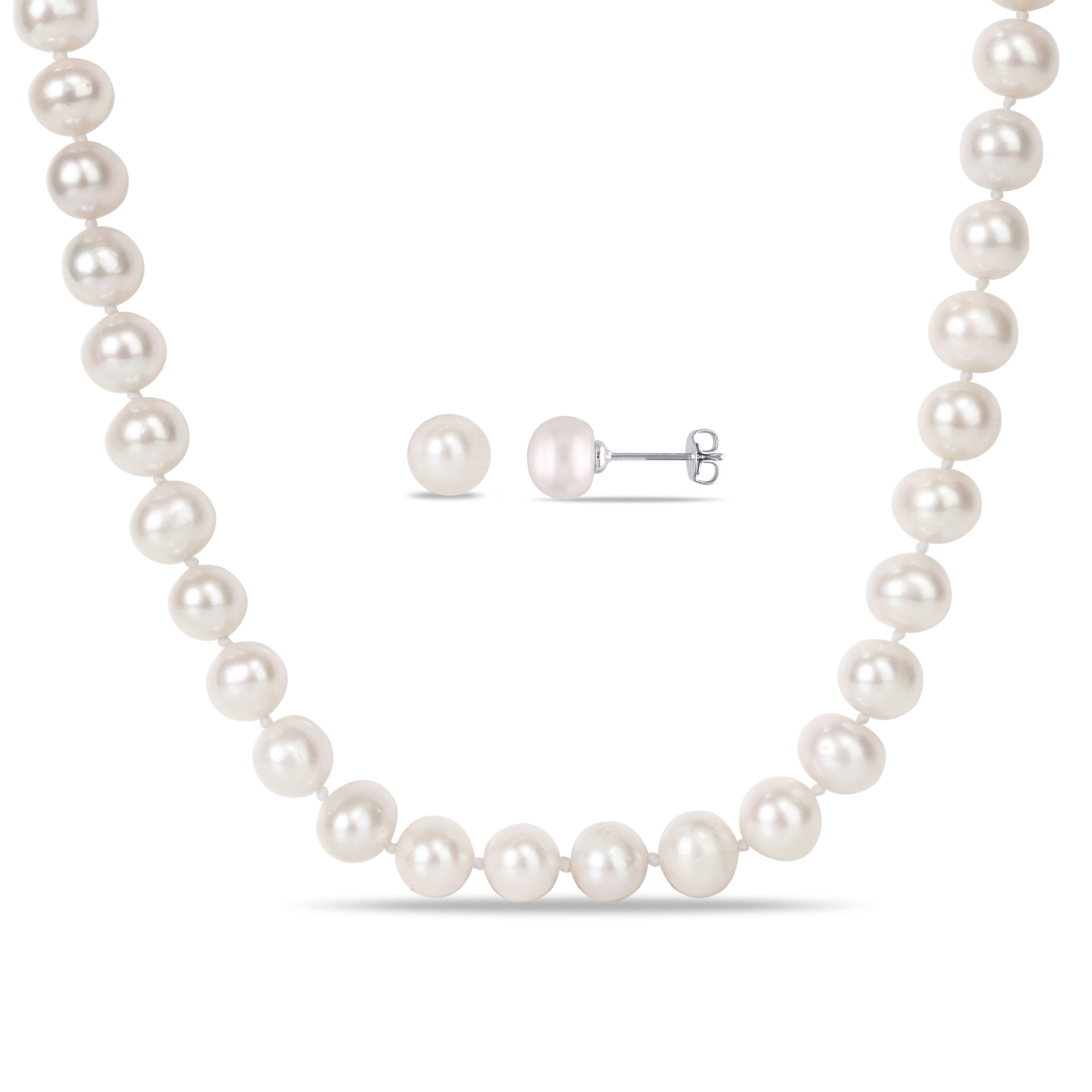 """Genuine AAA ROUND 9-10mm White Pearl Necklace 25/"""" Cultured Freshwater"""
