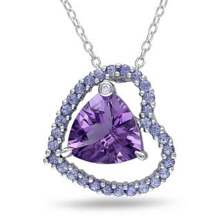 Miadora Sterling Silver Amethyst, Tanzanite and Diamond Heart Necklace