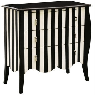 Hand Painted Distressed Black and White Striped Finish Accent Chest