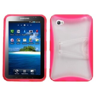 INSTEN Clear/ Pink Gummy Tablet Case Cover/ Stand for Samsung P1000 Galaxy Tab