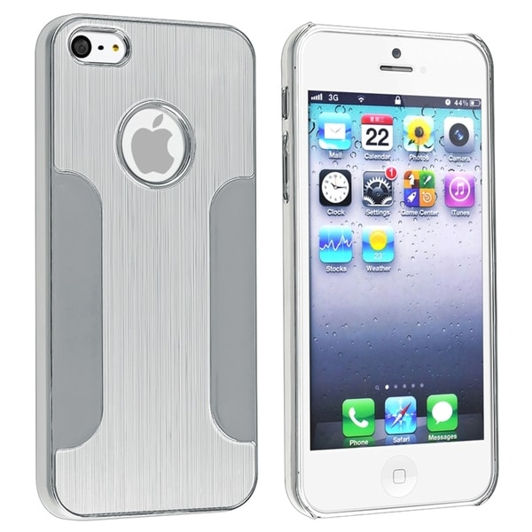 INSTEN Silver Brushed Chrome Aluminum Snap-On Phone Case Cover for Apple iPhone 5/ 5S