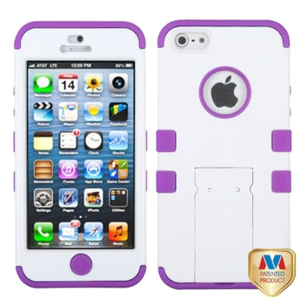INSTEN White/ Purple Tuff Hybrid Protector Phone Case Cover for Apple iPhone 5