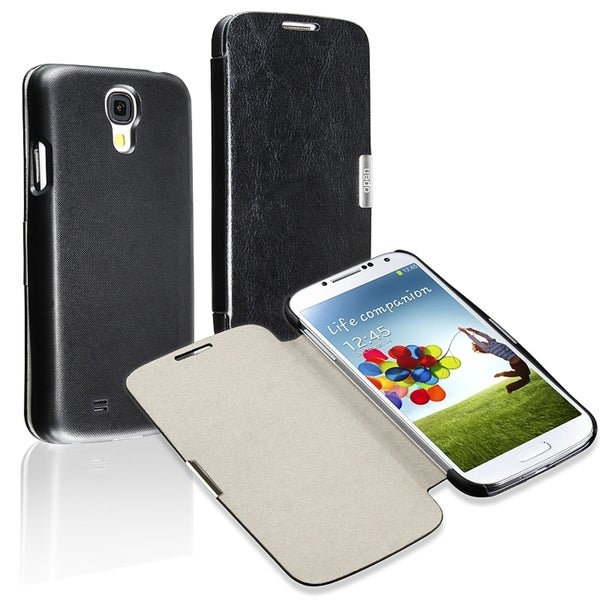 INSTEN Black Leather Phone Case Cover/ MagnetIC Flap for Samsung Galaxy SIV/ S4