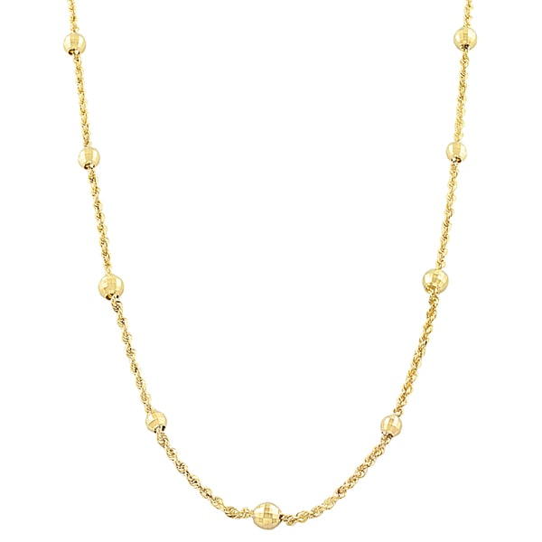 Fremada 10k Yellow Gold Rope and Diamond-cut Bead Station Necklace (17-inch)