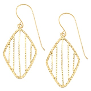 Fremada 14k Yellow Gold Diamond-cut Diamond Shape Dangle Earrings