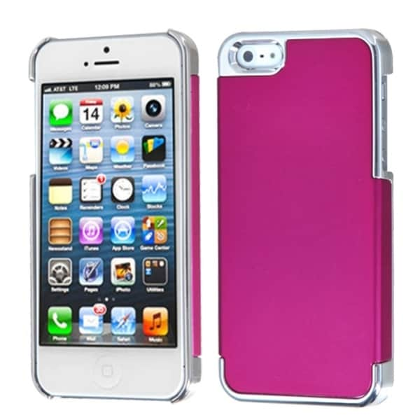 INSTEN Hot Pink/ Silver MyDual Back Protector Phone Case for Apple iPhone 5/ 5S/ 5C/ SE