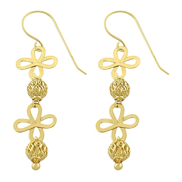 Fremada 14k Yellow Gold Bead and Flower Dangle Earrings
