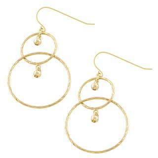 Fremada 10k Yellow Gold Diamond-cut Graduated Circles with Beads Dangle Earrings