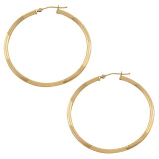 Fremada 10k Yellow Gold Polished/ Matte Round Hoop Earrings
