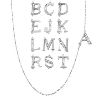 Fremada Rhodium Plated Sterling Silver and Cubic Zirconia Initials Necklace (18-inch)
