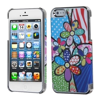 INSTEN Flowers/ Silver Patchwork MyDual Back Phone Case for Apple iPhone 5/ 5S/ SE