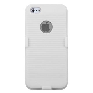 INSTEN Solid Ivory White Rubber Hybrid Holster for Apple iPhone 5/ 5S/ SE