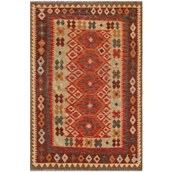 Afghan Hand-knotted Mimana Kilim Red/ Burgundy Wool Rug (4'2 x 6'3)