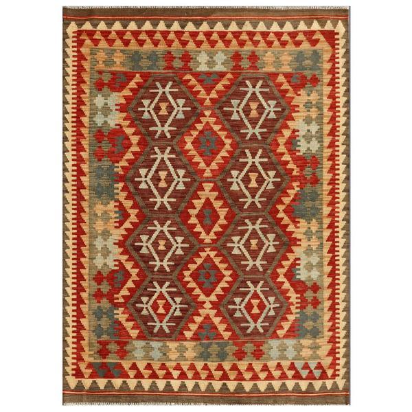 Afghan Hand-knotted Mimana Kilim Red/ Burgundy Wool Rug (4'2 x 5'10)