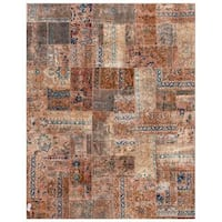 Herat Oriental Pak Persian Hand-knotted Patchwork Wool Rug (7'10 x 9'9) - 7'10 x 9'9